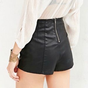 UO Pins & Needles Faux Leather High Waisted Shorts